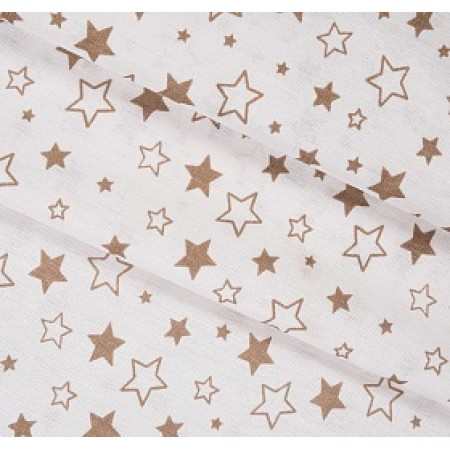Бязь детская, 150 см, Звездное небо кофе на белом