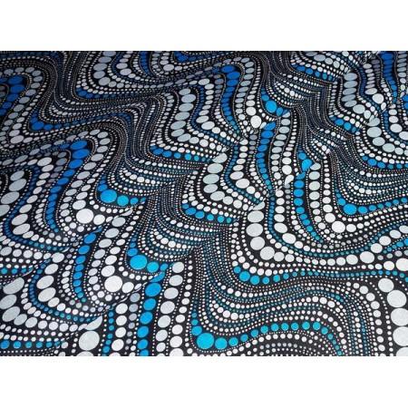 Бязь плательная, 150 см, Горох зигзаг, синий