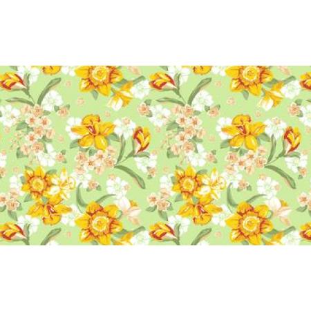 Вафельное полотно набивное, 150 см, Цветы желтые