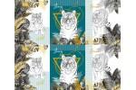 Вафельное полотно набивное, 150 см, Белый тигр 1