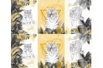 Вафельное полотно набивное, 150 см, Белый тигр 2