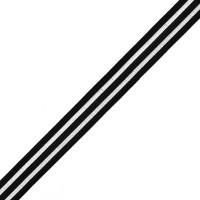 Резинка декоративная с прозрачными вставками, шир.20мм, цв.черный