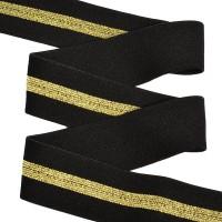 Резинка декоративная, мягкая, 40 мм, цв. черный/золото
